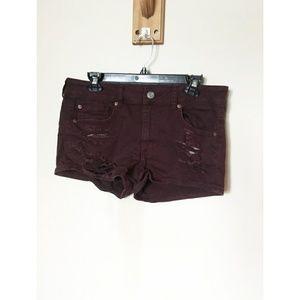 American Eagle Distresaed Stretch Shortie Shorts